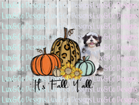 Its Fall Yall Cheetah Sunflower Dog Shi Tzu Sublimation Transfer