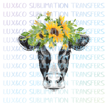 Sunflower Cow PNG Sublimation Digital Design