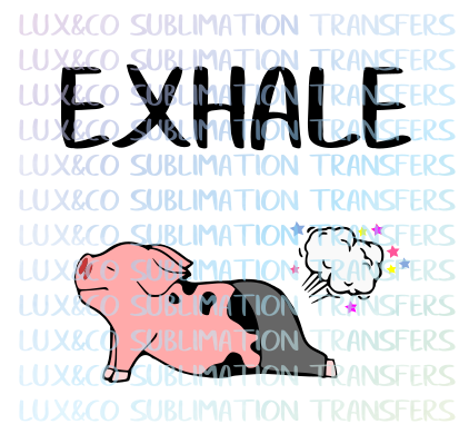 Pig Farting Yoga Exhale Sublimation Transfer