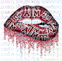 Texas A&M ATM Football Dripping Lips Sublimation Transfer