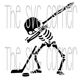 Dabbing Skeleton Hockey SVG File