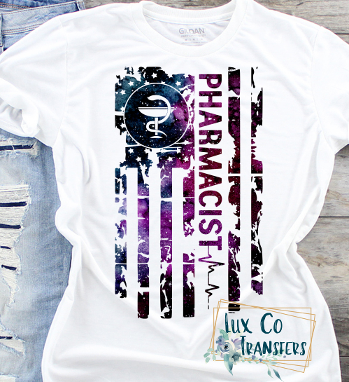 Pharmacist Galaxy American Flag Sublimation PNG Digital Design