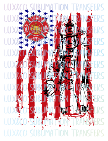 Fire department Firefighter American Flag  Sublimation Transfer