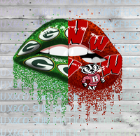 Split Packers Badgers Football Dripping Lips Sublimation Transfer