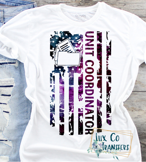 Unit Coordinator Galaxy American Flag Sublimation Transfer