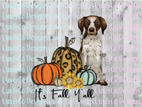 Its Fall Yall Pumpkin Sunflower Cheetah Dog German Shorthair Pointer Sublimation PNG Digital Design