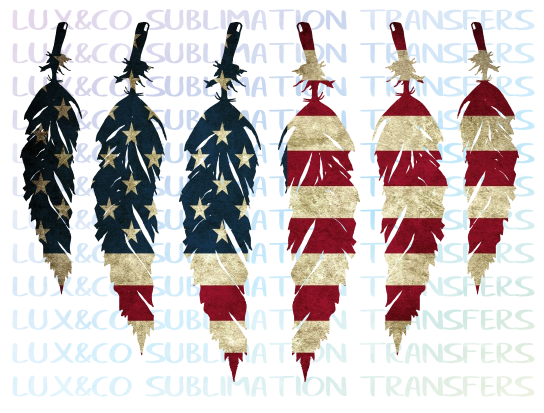American Flag Feathers Sublimation Transfer