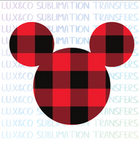 Buffalo Plaid Mickey Head Christmas Sublimation Transfer