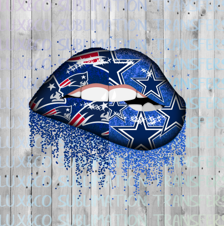 Patriots Cowboys Split Glitter Dripping Lips Sublimation PNG Digital Design