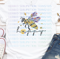 Bee Happy Sublimation Transfer