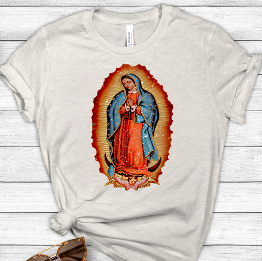 Virgin Mary Distressed Sublimation Transfer