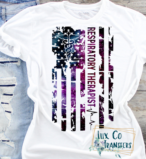 Respiratory Therapist Galaxy American Flag Sublimation PNG Digital Design