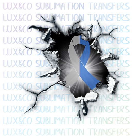 Awareness Ribbon Breaking through wall Diabetes Sublimation Transfer