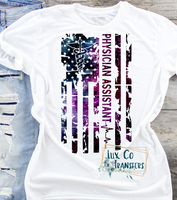 Physician Assistant Galaxy American Flag Sublimation PNG Digital Design