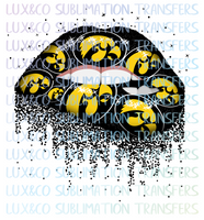 ***SALE*** Iowa Hawkeyes Football Dripping Lips Sublimation Transfer