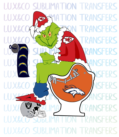 Grinch KC Chiefs Shitting on Denver Broncos  Football Sublimation Waterslide Transfer
