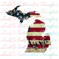 Michigan Home American Flag Sublimation Transfer