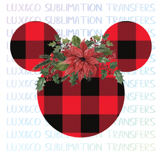 Buffalo Plaid Floral Mickey Head Christmas Sublimation Transfer