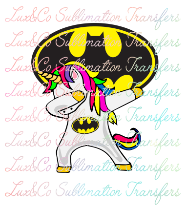 Dabbing Unicorn Batman Sublimation Transfer