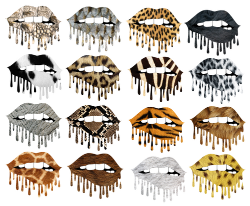 Dripping Lips Set 3 Animal Print Sublimation Png Digital Design Lux Co
