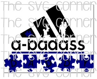 A-badass Daddy Adidas Puzzle Autism Dad Awareness SVG File