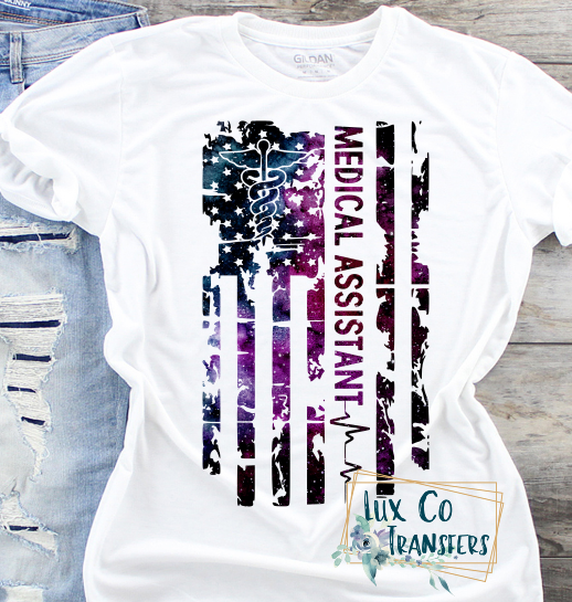 Medical Assistant Galaxy American Flag Sublimation PNG Digital Design