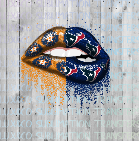 Astros Texans Split Glitter Dripping Lips Sublimation PNG Digital Design
