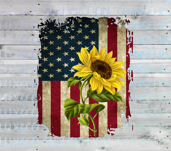 American Flag Sunflower Sublimation Transfer