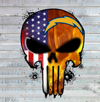 Chargers Punisher Skull Football American Flag Sublimation Transfer