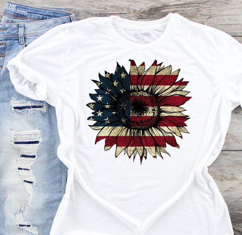Sunflower American Flag Sublimation Transfer