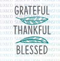 Grateful Thankful Blessed Feathers SVG File