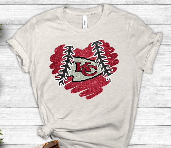 KC Chiefs Glitter Heart Sublimation Transfer