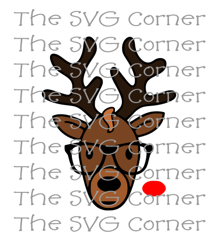 Reindeer Wearing Glasses Rudolph Winter Christmas Holiday SVG File