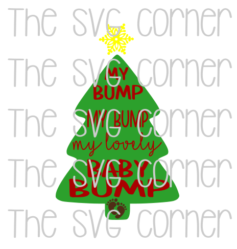 My Bump My Lovely Baby Bump Tree Winter Christmas Holiday SVG File