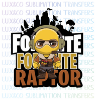 Fortnite Raptor Sublimation Transfer