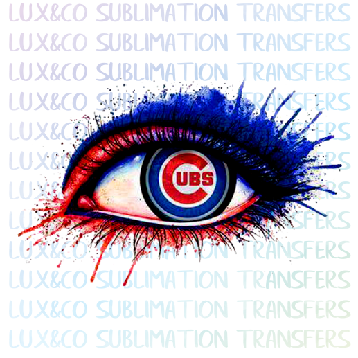 Cubs Baseball Dripping Eye Sublimation Transfer