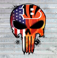 Bengals Punisher Skull Football American Flag Sublimation Transfer
