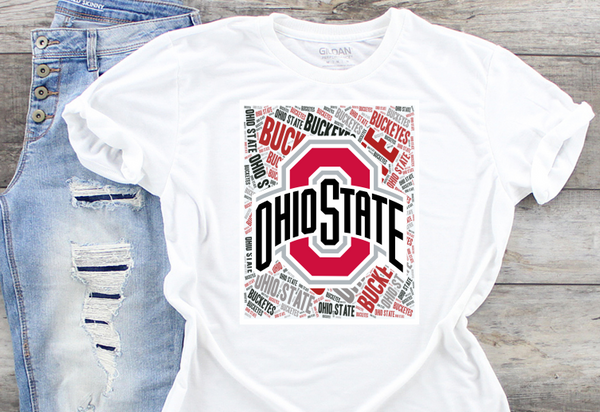 Ohio State Buckeyes Word Art Sublimation Transfer