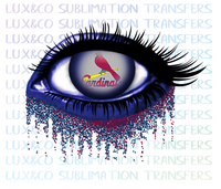STL Cardinals Glitter Eye Sublimation Transfer