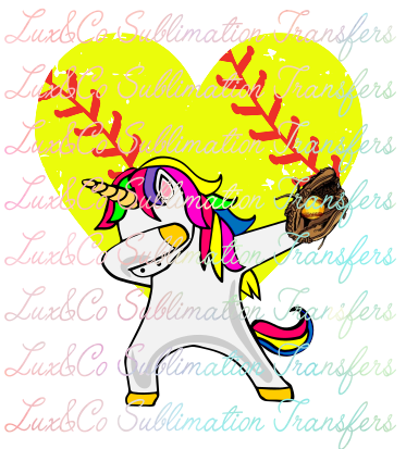 Dabbing Unicorn Softball Sublimation Transfer