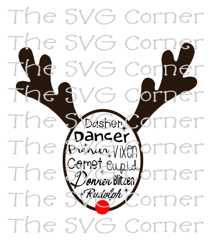 Reindeer Names Christmas Winter Holiday SVG File
