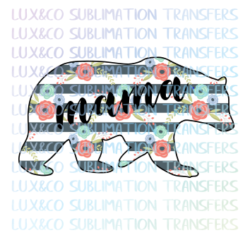 Floral Mama Bear Sublimation Transfer