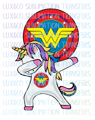 Dabbing Unicorn Wonder Woman Sublimation Transfer