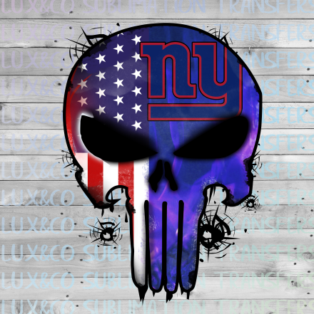 NY Giants Punisher Skull Football American Flag Sublimation Transfer