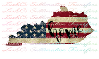 Kentucky Home American Flag Sublimation Transfer