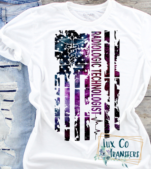 Radiologic  Technologist Galaxy American Flag Sublimation PNG Digital Design