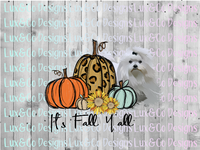 Its Fall Yall Pumpkin Sunflower Cheetah Dog Maltese Sublimation PNG Digital Design