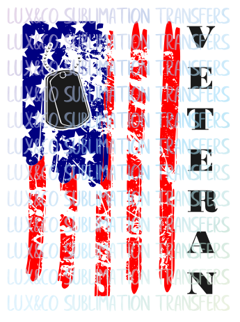 American Flag Veteran Sublimation Transfer