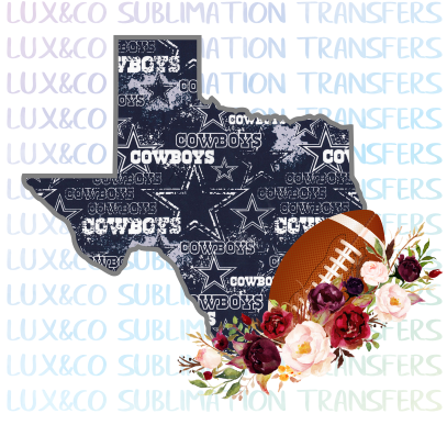 Texas Dallas Cowboys Flower Football State Sublimation Transfer