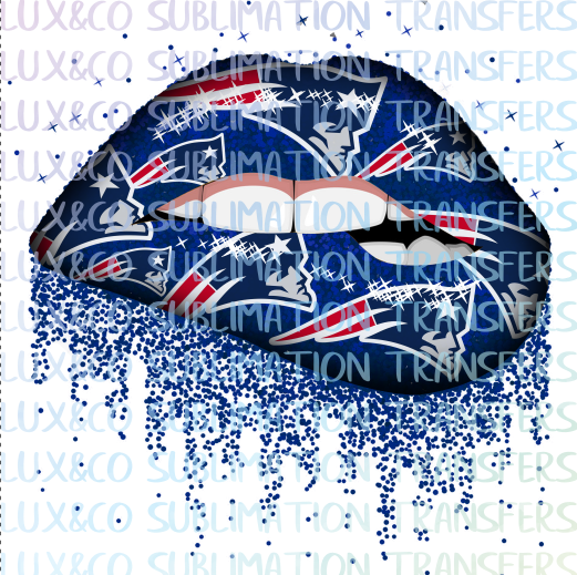 ***SALE*** New England Patriots Football Dripping Lips Sublimation Transfer